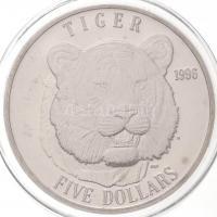 Marshall-szigetek 1996. 5$ Cu-Ni Tigris T:BU Marshall Islands 1996. 5 Dollars Cu-Ni Tiger C:BU Krause KM#297