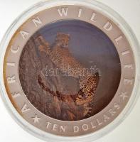 Libéria 2002. 10$ Cu-Ni Afrikai vadak - Gepárd multicolor T:PP kis patina Liberia 2002. 10 Dollars Cu-Ni African Wildlife - Gepard multicolor C:PP small patina