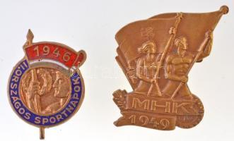 1946. II. Országos Sportnapok zománcozott fém gomblyukjelvény (19x27mm) + 1949. MHK aranyozott jelvény (27x33mm) T:2
