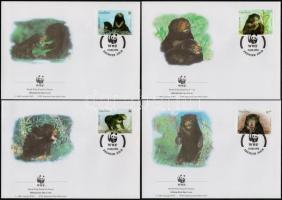 WWF Sun bear set on 4 FDCs, WWF Maláj medve sor 4 db FDC-n