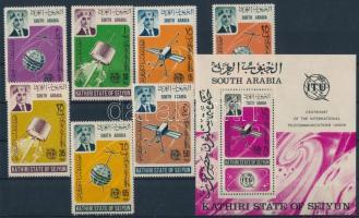 1966 100 éves az ITU sor + blokk Mi 84-90 + 1