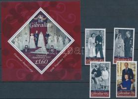 II. Erzsébet 60. házassági évfordulója sor + blokk, 60th Anniversary of Elizabeth II. set + block
