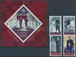 Queen Elizabeth II. set + block, II. Erzsébet 60. házassági évfordulója sor + blokk