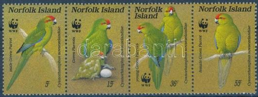 WWF: Parrot set in stripe of 4, WWF: Papagáj sor négyescsíkban