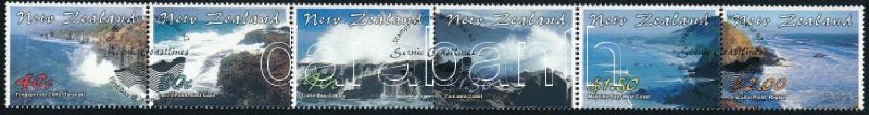 Landscapes set stripe of 6 with first day cancellation, Tájak sor vízszintes 6-os csíkban elsőnapi bélyegzéssel
