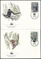 WWF Monkey set on 4 FDCs WWF: Majmok sor 4 db FDC-n