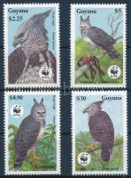 WWF Harpy eagle set +  set on 4 FDCs, WWF: Hárpia sor + 4 db FDC