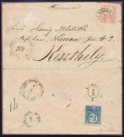 1872 Ajánlott levél Kőnyomat 5kr és Réznyomat 10kr vegyes bérmentesítéssel / Registered cover with Lithograph 5kr and Engraved 10kr mixed franking SUHOPOLJE - KESZTHELY Ex Ryan