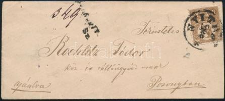 1871 Kőnyomat 15kr erős színű bélyeg ajánlott levélen / Mi 5, deep colour, on registered domestic cover NYITRA - POZSONY ex Ryan
