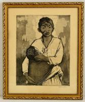 Ék Sándor (1902-1975): Vietnami anya, rézkarc, papír, jelzett, üvegezett fa keretben, 39×29,5 cm