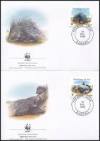 WWF: Crested porcupine set on 4 FDC, WWF: Tarajos sül sor 4 db FDC-n