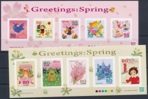 Greeting Stamps, Spring self.adhesive mini sheet pair, Üdvözlőbélyegek, tavasz öntapadós kisívpár