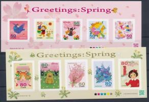 Greeting stamps, spring self-adhesive minisheet, Üdvözlőbélyegek, tavasz öntapadós kisívpár