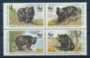 WWF: Bear block of 4 + 4 FDC, WWF: Medve négyestömb + 4 db FDC