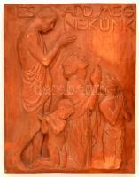 Reményi József (1887-1977): És add meg nekünk. Terrakotta homlokzati dombormű, sérült, jelzés nélkül, 60×47 cm, mélysége: 10 cm