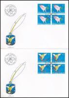 Greeting stamps set blocks of 4 4 FDC, Üdvözlőbélyeg sor négyestömbökben 4 db FDC-n