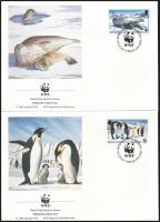 WWF: Fókák és pingvinek sor 4 db FDC-n, WWF Seals and pinguins set on 4 FDC