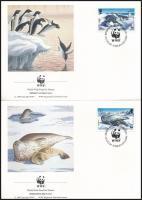 WWF Seals and penguins set 4 FDC, WWF: Fókák és pingvinek sor 4 db FDC-n
