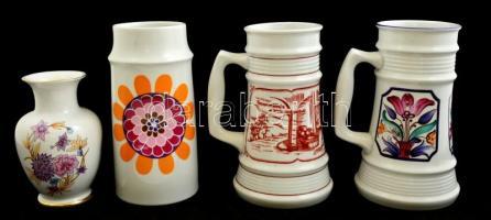 4 db Hollóházi porcelán tárgy: 1 db kis tálka, 1 db váza, 2 db bögre + 2 db Alföldi porcelán korsó, matricásak, jelzettek, kis kopásokkal, különböző méretben