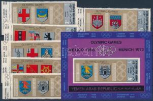 1968 Olimpia ívszéli sor + blokk Mi 832-837 + 84