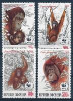 WWF Orangutan set + 4 FDC, WWF: Orángután sor + 4 db FDC