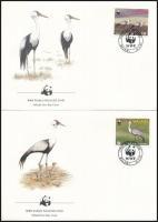 WWF: Crane bird set on 4 FDC, WWF: Daru sor 4 db FDC-n