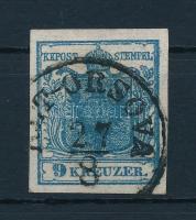 1850 9kr HP II. sötétkék, kiemelt középrész / dark blue, highlighted middle part. Certificate: Steiner