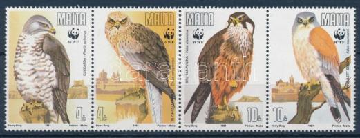 1986 WWF: Ragadozó madarak sor négyescsíkban + 4 db FDC Mi 864-867