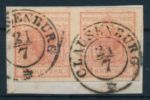 1850 3kr MP I. világos paradicsompiros / light tomato red, Gravur type 1-2 - 1-2 CLAUSENBURG Certificate: Steiner