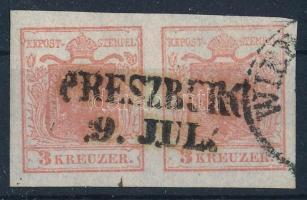 1850 3kr HP I. rózsapiros pár kiemelt középrésszel / rose red pair, highlighted middle part PRESZBURG Certificate: Steiner