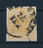 1850 1kr HP I. narancsokker, lemezhiba a jobb oldali sasban / orange ochre with plate flaw (NEU) BECSE Certificate: Steiner