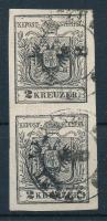1850 2kr MP III. mélyfekete függőleges pár / deep black vertical pair SZENT (KERE)SZT Certificate: Steiner