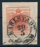 1850 3kr HP I. mélycinnober kiemelt középrésszel / deep vermeil, highlighted middle part KARLSTADT Certificate: Steiner