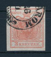 1850 3kr HP I. eltolódott kiemelt középrész és lemezhiba / shifted highlighted middle part and plate flaw (KOMÁ)ROM Certificate: Steiner