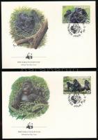 WWF: Gorilla set + 4 FDC, WWF: Gorilla sor + 4 db FDC