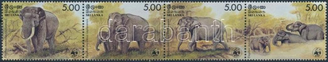 1986 WWF: Ceyloni elefánt sor négyescsíkban + 4 db FDC Mi 753-756
