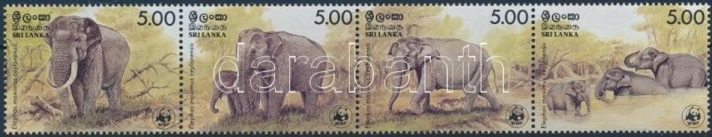 WWF: Asian elephant set in stripe of 4 + 4 FDC, WWF: Ceyloni elefánt sor négyescsíkban + 4 db FDC