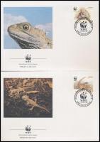 WWF Lizards set + set on 4 FDC, WWF Gyíkok sor + sor 4 FDC-n