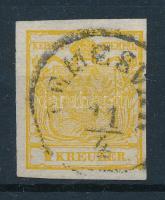 1850 1kr HP III. kadmiumsárga, 0,06 mm selyempapír / cadmium yellow, 0,06 mm silk paper TEMESV(ÁR) Certificate: Steiner