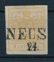 1850 1kr HP I. sárgás okker, 2 oldali nyomat / yellow ochre, printed on both sides NEUS(OHL) Certificate: Steiner