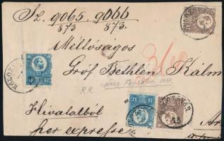 1873 Réznyomat 2 x 10kr, 2 x 15kr hivatalos magas súlyfokozatú expressz levél előlap darabon / 2 x Mi 11 + 2 x 12 on official express domestic cover front piece KOLOZSVÁR