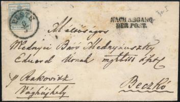 "~1852 9kr HP I. on cover ""PESTH"" - ""NACH ABGANG DER POST"" - Beczkó, ~1852 9kr HP I. levélen ""PESTH"" - ""NACH ABGANG DER POST"" - Beczkó"