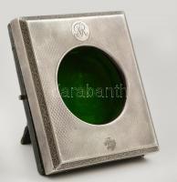 Ezüst(Ag) fedelű, bőr és bársony zsebóra doboz, jelzett, 11,5x10x3 cm, d: 6 cm