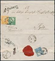 1873 Réznyomat 2kr + 3kr + 10kr ajánlott levélen/ Mi 8 + 9 + 11 on regitered cover ,,SZEREDNYE - ,,KASSA - ,,IGLÓ (a 10kr sérült/ damaged)