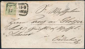 ~1860 3kr green on local cover, ~1860 3kr zöld helyi levélen (100.000) ,,OEDENB(URG)""
