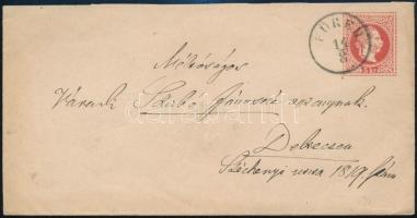 ~1868 5kr díjjegyes boríték / PS-cover FÜRED - Debreczen