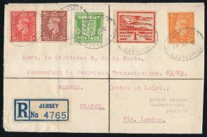 Registered cover with mixed franking from Jersey to France, Jersey és Guernsey meghosszabbított érvényességű bélyegek angol értékekkel kombinálva ajánlott levélen Franciaországba