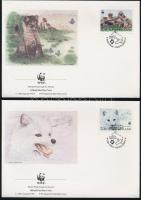 WWF Arctic foxes block of 4 + block of 4 on 4 FDC WWF: Sarki rókák négyestömb + négyestömb  4 FDC-n