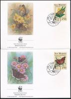 Butterfly set in stripe of 4 + 4 FDC Lepkék négyescsík  + 4 db FDC