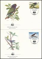 WWF Birds set 4 FDC WWF: Madarak sor 4 db FDC-n